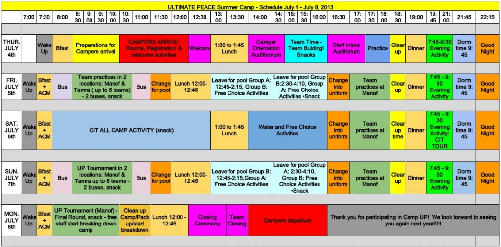 Summer Camp 2013 Schedule